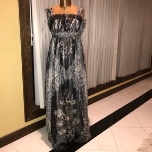 Women's gown gray print long dress size 6